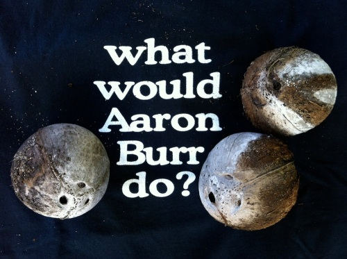 Combatants will fling coconuts at each other in this year's Blacktip Island Aaron Burr Society-sponsored recreation of the Burr-Hamilton duel.