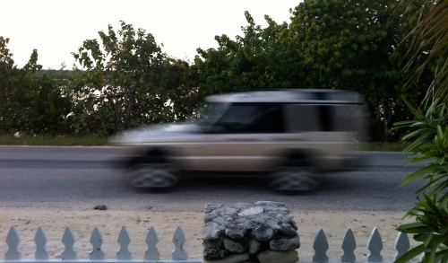 Dermott Bottoms' photo of Blacktip Island's bank robbers speeding past. (Photo courtesy Dermott Bottoms)